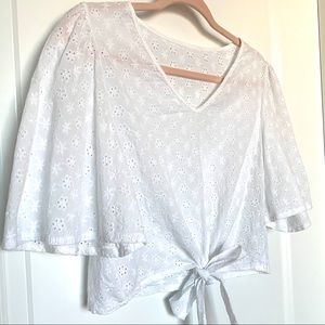 White EYELET Crop Top / Swim Cover-Up w/ front tie
